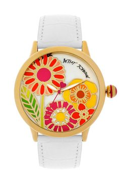 Betsey Johnson Flower Dial Leather Strap Watch available at Nordstrom