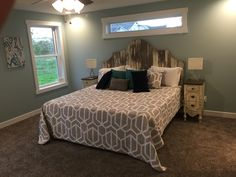 Barn siding headboard and repurposed vintage night stands