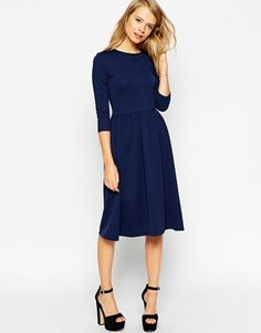 ASOS Midi Skater Dress in Texture with 3/4 Sleeves