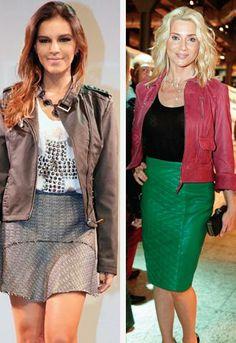 Mariana rios escolheu um modelo com aplicações e detalhes no ombro que remetem à tendência militar.  Leticia Spiller escolheu uma jaqueta co...