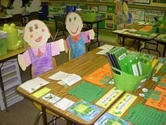 Love this open House idea!...have kids make themselves to sit at the desks