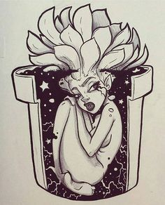 female mandrake in pot fantasy artwork Drawing Sketches, Cool Drawings, Art Et Design, Drawn Art, Black Art, Art Inspo, Art Reference, Amazing Art, Cool Art