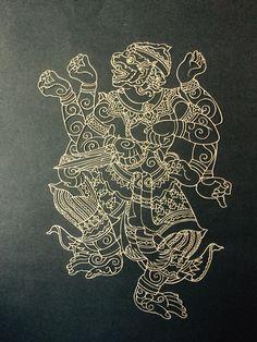 "Paper cut that I have done of Hanuman ""The monkey warrior"" cut from a tattoo design favoured by Muay Thai fighters, for luck. Muay Thai Tattoo, Khmer Tattoo, Hanuman Tattoo, Styrofoam Art, Flower Of Life Tattoo, Cambodian Art, Sak Yant Tattoo, Thai Pattern, Monkey Tattoos"
