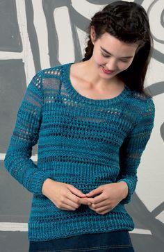 Breien. Een mooie lente trui gemaakt met LANG Yarns Ella.  Een mooi garen met een mix van katoen, polyester, viscose en polyamide.  Het voelt zacht aan met een natuurlijke look. FAM_231_Collection-64.jpg