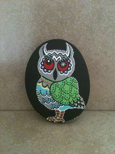 Hand-painted Stone Folk Art Owl.