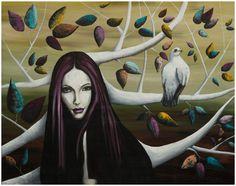 "Lezzueck Asturias ""Bosque Blanco"", oil on linen 100%, 92 x 72 cm, 2012  #painting #woman #bird #art"