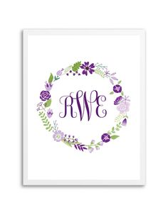 Floral Wreath Monogram (Purple)