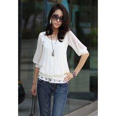 Elegant Scoop Neck Elastic Hem Cotton Splicing Pleated Chiffon Women's Blouse, WHITE, M in Blouses | DressLily.com