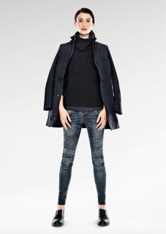 G-Star RAW Fall 2014 New Looks. The world's first denim made entirely from recycled ocean plastics, paiy homage to the motorcycle and riding garments. G Star Raw, Gstar, Raw Denim, Girl Names, Fashion 2018, Blue Jeans, New Look, Fashion Forward, Bomber Jacket