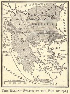 Map of the Balkan States at the End of 1913