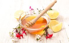 Download wallpapers honey, sweets, a wooden stick for honey, spring, flower honey, lemons