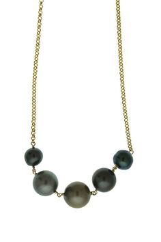 "The ultimate mermaids necklace. Measurements:- 2.5"" Pearls Total Length- 19"" Chain Materials:- Tahitian Pearls- 14K Gold Fill  or Sterling Silver Chain and find"