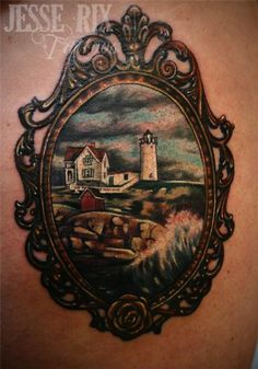 nubble light tattoo by jesse rix at secret lake tattoo in keene, nh. John Bauer, Torso Tattoos, Cool Tattoos, Tatoos, Sweet Tattoos, Alphonse Mucha, Victorian Frame Tattoos, Vintage Frame Tattoo, Picture Frame Tattoos
