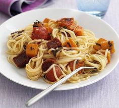 Butternut & chorizo spaghetti | BBC Good Food
