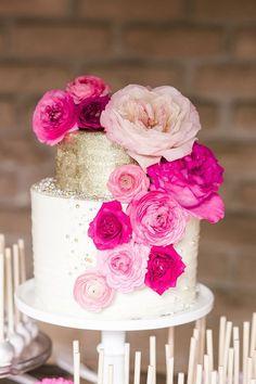 Pink wedding cake idea; Photographer: We Heart Photography