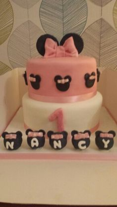 Minnie Mouse 1st birthday cake.  Small Minnie Mouse's are cake pops, white chocolate mud cake mmm