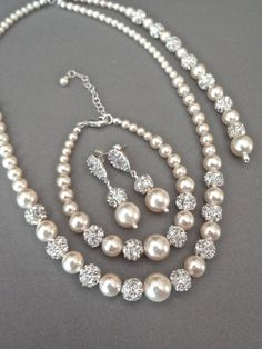Pearl jewelry set - Swarovski pearls and crystals ~ 3 piece set ~ Pearl Bracelet,Earrings,Necklace, Bridal jewelry set, TOP SELLER ~ DESTINY