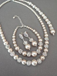 Pearl jewelry set - Swarovski pearls and crystals ~ 3 piece set ~ Pearl…