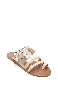 Tasseled Toe-Loop Clear Sandals