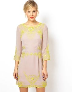 Image 1 of ASOS Placement Embroidered Shift Dress