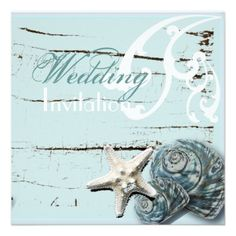 """Romantic Elegant Seashell Beach Wedding Invitation from Zazzle.com $1.27 each (based on 50) Completely personalized so it would not say """"Wedding"""" on it. (Mrs. B)"""