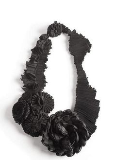 Marina Callis Textiles Jewellery - fabric flower necklace made using a variety of folding techniques - fabric manipulation; Textile Jewelry, Fabric Jewelry, Jewelry Art, Jewelry Design, Fashion Jewelry, Contemporary Jewellery, Modern Jewelry, Contemporary Fabric, Contemporary Fashion