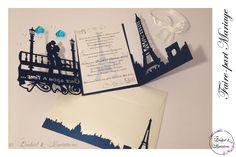 Lasercut wedding invitation - Faire-part Mariage -Modèle arabesque - Paris et sa tour Eiffel en Bleu roi et blanc irisé Faire-part ciselé, découpe façon laser Tour Eiffel, Lasercut, Arabesque, Creations, Invitation, Laser Cutting, King, Blue, Eiffel Towers