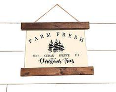 Christmas Canvas Banner Sign - Christmas Trees Sign - Pine Trees Canvas Sign -Christmas Gift - Rustic Farmhouse Sign