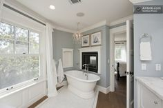 """LOVE THIS !! The color of the walls- the """"wood"""" floors, the white trim!!"""