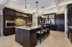 Image result for kitchen with dark cabinets