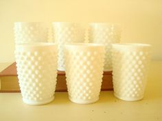 6 Fenton milk glass tumblers, 5 ounce glasses, white hobnail milk glass, 1950s kitchen decor, wedding table decor, bridal shower gift by SunnyDayVintage on Etsy https://www.etsy.com/listing/473525374/6-fenton-milk-glass-tumblers-5-ounce