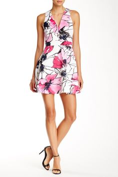 Deep-V Printed Scuba Fit n' Flare Dress by Necessary Objects on @nordstrom_rack