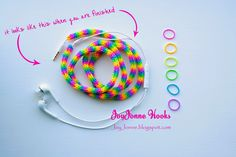 JoyJonne Hooks Pimp your earphone with loom elastics, loom Tutorial, loom bandjes, DIY Rainbow Loom Patterns, Rainbow Loom Creations, Rainbow Loom Bands, Rainbow Loom Charms, Rainbow Loom Bracelets, Loom Band Bracelets, Rubber Band Bracelet, Rubber Band Crafts, Rubber Bands