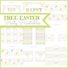 Free Easter party printables with editable text fields! See more free printables and party ideas at CatchMyParty.com.