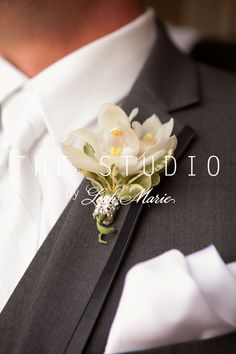 Groom's Boutonniere with rhinestone ribbon accent
