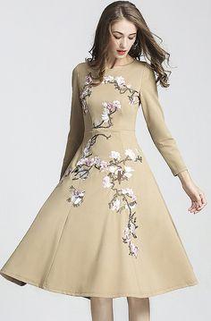 Chic O-Neck Long Sleeve Floral Print Skater Dress