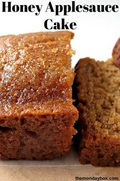 Honey Applesauce Cake – The Monday Box Honey Applesauce Cake made in a loaf pan! This moist cake is great for enjoying now or freezing for later. A perfect gift loaf, this cake stays fresh for at least a week with the flavor improving each day! Brownie Desserts, Just Desserts, Delicious Desserts, Dessert Recipes, Pudding Recipes, Loaf Recipes, Desserts With Honey, Moist Cake Recipes, Easy Recipes