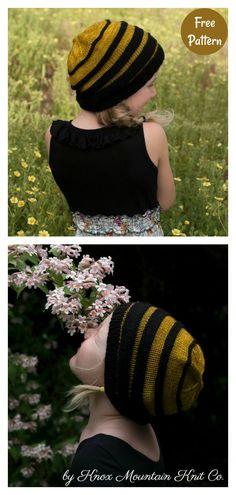 Free Knitting, Knitting Patterns, Sewing Patterns, Bee Hat, Knit Crochet, Crochet Hats, Handmade Items, Handmade Gifts, Headbands