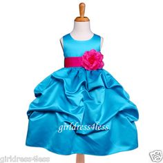 flower girl dress idea for pink and blue wedding colors!!