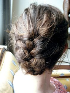 tucked under french braid--I'd love to have my hair look like this every day!!