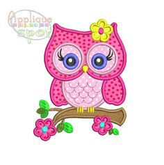 Cute Girly Owl Applique Design for Embroidery Machine  You will receive the design in sizes: 4x4, 5x7 and 6x10  If you need something larger please
