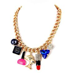 Love, Bottle, Woman, Rhinestone Cube Pendant Lipstick Gold Color Chain Necklace YN1214-GMT