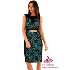 Monica φόρεμα με χρυσή ζώνη και δαντέλα Emerald Green Dresses, Two Piece Skirt Set, Skirts, Fashion, Moda, Fashion Styles, Skirt, Fasion