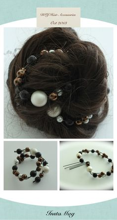 DIY hair accessories.  1. Thread some pearls onto a wire, colour, shape size and length of your choice.   2. Cut the wire with a little bit to spare on each side of the pearls (~2 cm). 3. Make a little loop with the extra wire by bending it and sticking the end into the end pearls. 4. Wrap around bun and use hairpins or bobbypins to secure the ends by sticking them through the little loops.