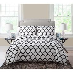 Black Trellis Full Queen Duvet Cover Set Black White Adult Bedding Master Bedroom Modern Stylish Geometric Ikat Lattice Pattern Quatrefoil Shape
