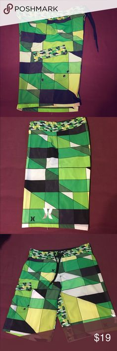 Size 30 Hurley Board Shorts Size 30, in new condition! Pocket is Velcro, not a zipper. Draw strings are grippy on the one side to prevent coming undone. Lost weight so they don't fit! Hurley Shorts
