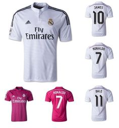Real Madrid Jersey Home Away 2014 2015 Ronaldo James Bale Soccer White Pink New  Real 19be87b4c