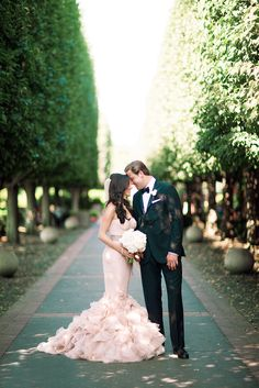 What a lovely silhouette! Blush pink wedding dress #wedding #dress #blushpink #blushpinkwedding #bride