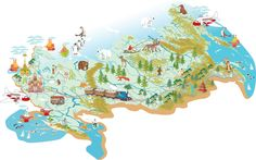 Illustration of Cartoon map of Russia with a symbol of Moscow - St Basil s Cathedral, a symbol of St Petersburg - the Admiralty, with variety of animals living in the area and traveling people as well vector art, clipart and stock vectors. Free Illustrations, Illustration Art, Map Vector, Vector Stock, Free Cartoons, Photoshop Elements, Art Images, Clip Art, Symbols
