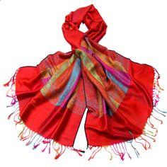 Etole pashmina rouge tissée motifs multicolores - Etole pashmina - Mes Echarpes